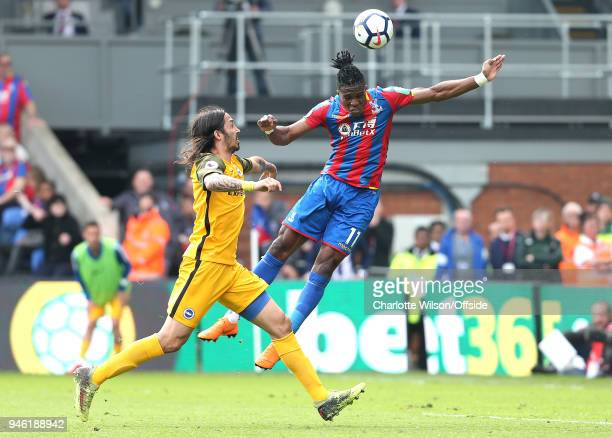 Wilfried Zaha of Crystal Palace scores their 3rd goal during the Premier League match between Crystal Palace and Brighton and Hove Albion at Selhurst...