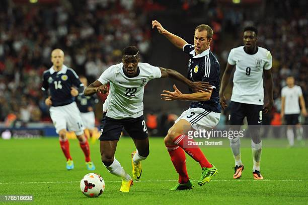 Wilfried Zaha of England in action against Steven Whittaker of Scotland during the International Friendly match between England and Scotland at...