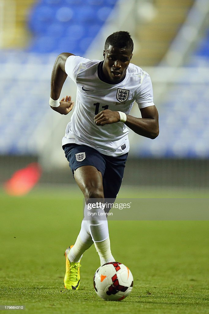 Wilfried Zaha of England in action during the 2015 UEFA European U21 Championships Qualifier between England U21 and Moldova U21 at the Madejski Stadium on September 5, 2013 in Reading, England.