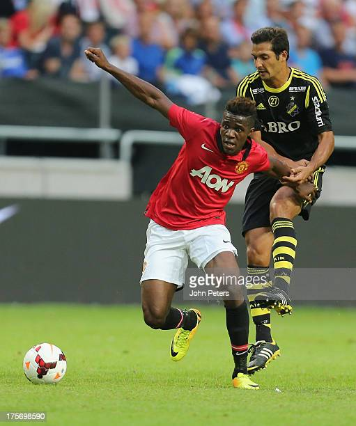 Wilfried Zaha of Manchester United in action during the preseason friendly match between AIK Fotboll and Manchester United at Friends Arena on August...