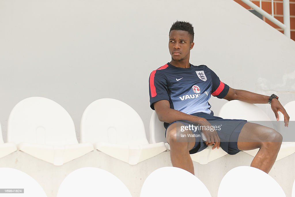 Wilfried Zaha of Manchester United sits out of the England Under 21 Training session on June 3, 2013 in Netanya, Israel.