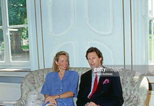 Wilhelm Albert Prince von Urach, Count of Wurttemberg, with his wife Karen, nee von Brauchitsch, at Lichtenstein castle, Germany, 1992.