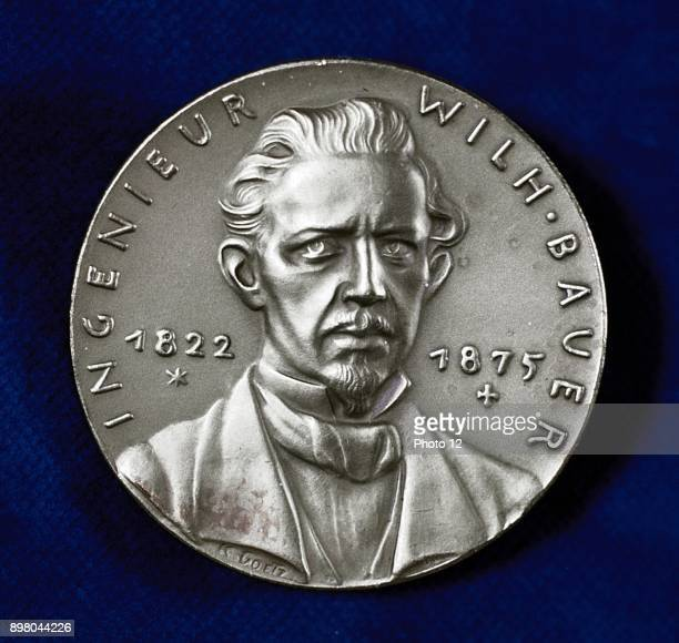 Wilhelm Bauer German inventor and pioneer builder of submarines Obverse of commemorative medal