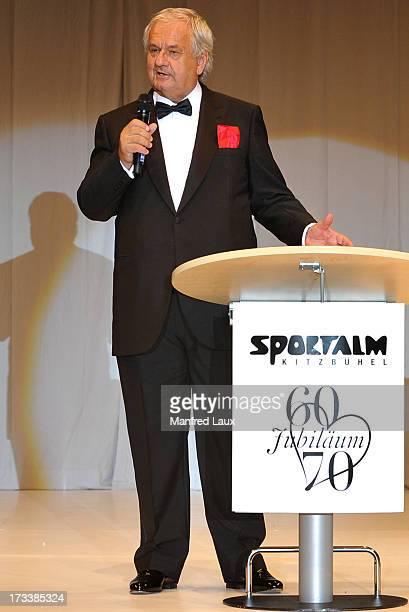 Wilhelm Ehrlich speaks during Sportalm's 60th anniversary celebration at Bichelalm on July 12 2013 in Kitzbuehel Austria