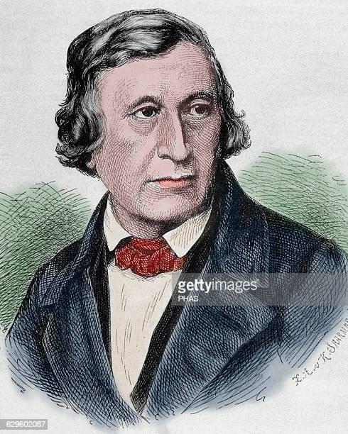 Wilhelm Grimm German author the younger of the Brothers Grimm Portrait Engraving Colored
