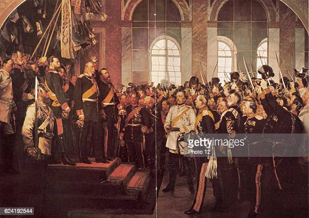 Wilhelm I King of Prussia being proclaimed first Emperor of Germany 1871 Otto von Bismarck German Chancellor in white coat in centre