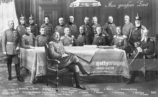 Wilhelm II *27011859German Emperor King of Prussia German emperor Wilhelm II with a group of German officers during World War I from left back row...