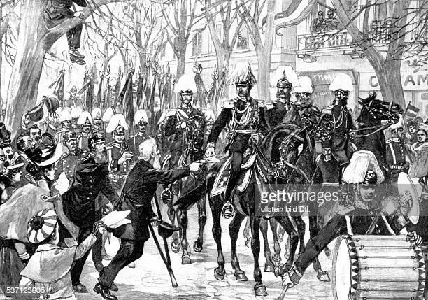 Wilhelm II Deutscher Kaiser 18881918 König von Preussen Überreichung einer Bittschrift an Wilhelm II nach einer Skizze von E Hosang gezeichnet von O...