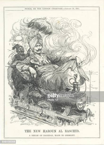 Wilhelm II Emperor of Germany dreaming of a German rail link to Baghdad and oil Cartoon by Leonard RavenHill from 'Punch' London 25 January 1911