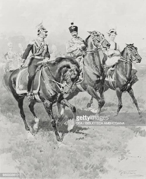 Wilhelm II Empress Augusta Victoria and Victor Emmanuel III at the military review of Tempelhof Berlin Germany drawing by Fortunino Matania after a...