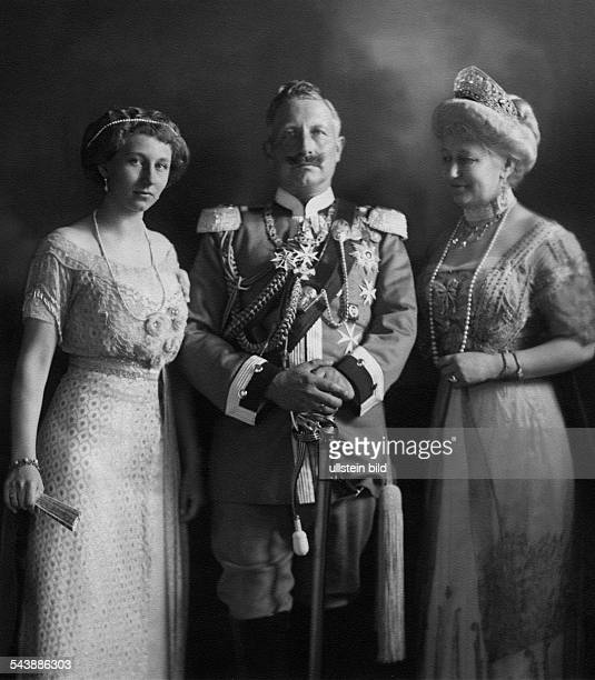 Wilhelm II German Emperor King of Prussia*27011859 with his wife Empress Augusta Victoria and daughter Princess Victoria Louise 1913 Photographer TH...