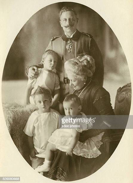 Wilhelm II or William II German emperor and King of Prussia with Augusta Victoria German empress and queen of Prussia his wife with their...