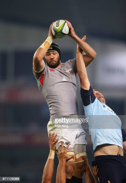 Wilhelm van der Sluys of the Kings jumps at the lineout next to David McDuling of the Waratahs during the round nine Super Rugby match between the...