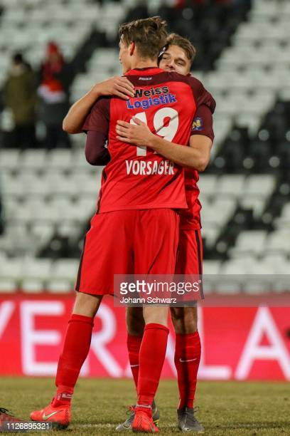 Wilhelm Vorsager and Patrick Schmidt of Admira celebrate their victory during the tipico Bundesliga match between FC Admira Wacker and FC Wacker...