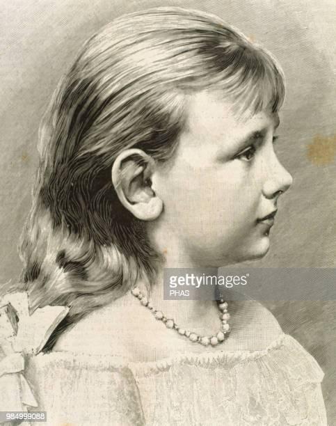 "Wilhelmina Helena Pauline Maria . Queen of the Netherlands . Girl portrait. Engraving. ""La Ilustracion Espa–ola y Americana"", 1890."