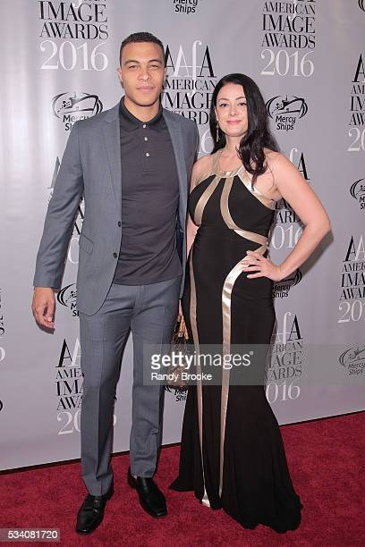 Wilhelmina Model and former NFL Running Back for the Chicago Bears Dale Moss and Tijana Ibrahimovic attend the 38th Annual AAFA American Image Awards...