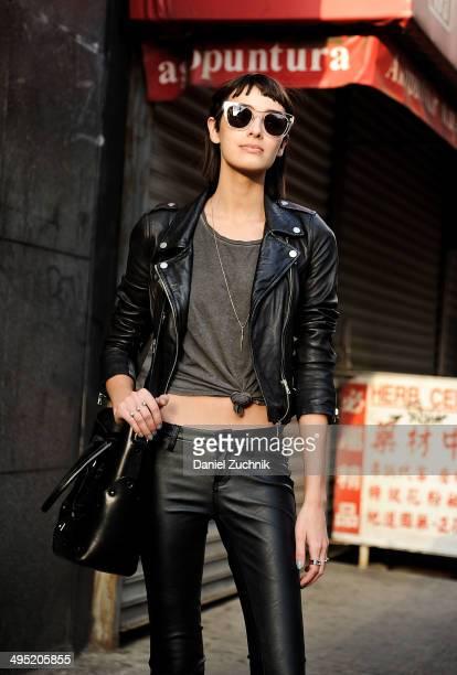 Wilhelmina Model Margaux Brooke is seen around Soho wearing a Zara jacket Blank NYC pants Zana Bayne handbag and Wonderland sunglasses on May 31 2014...