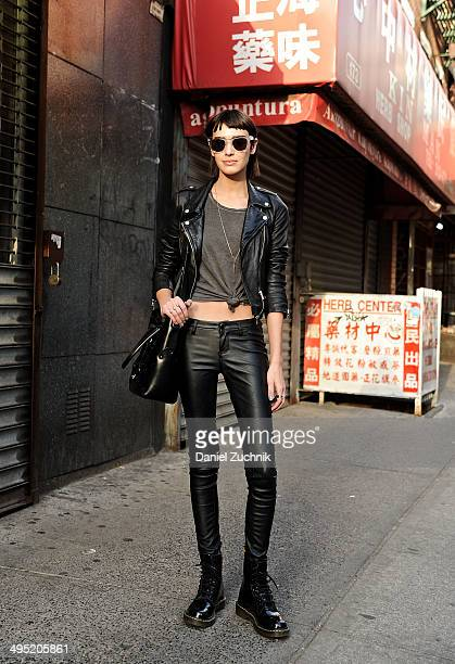 Wilhelmina Model Margaux Brooke is seen around Soho wearing a Zara jacket Blank NYC pants Doc Martens boots Zana Bayne handbag and Wonderland...