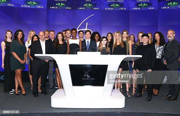Wilhelmina Models and Executives celebrate the Wilhelmina International Inc NASDAQ Ringing Of The Bell at NASDAQ on September 16 2015 in New York City