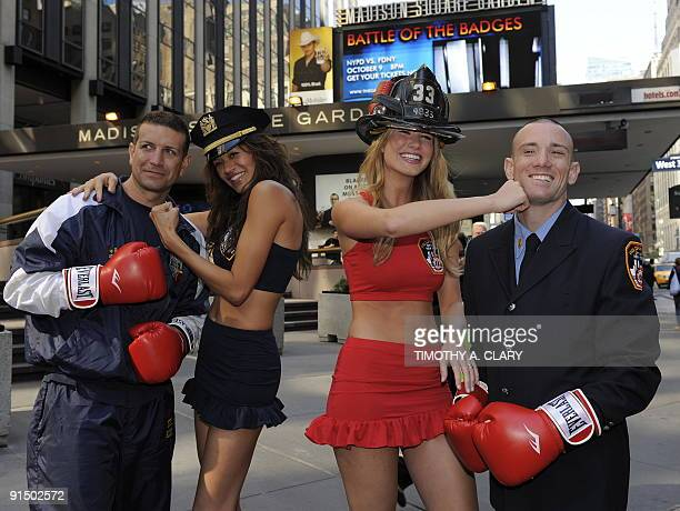 Wilhelmina models Annmarie Nitti and Tarale Wulff pose outside Madison Square Garden October 6 2009 with FDNY firefighter Mike Reno and NYPD Lt Ray...