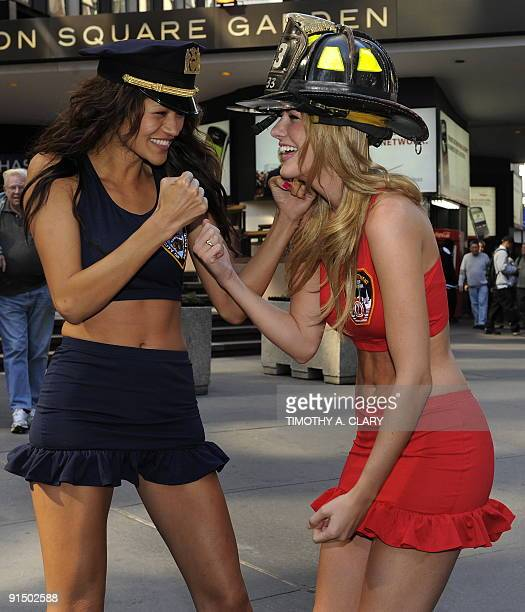 Wilhelmina models Annmarie Nitti and Tarale Wulff pose outside Madison Square Garden October 6 2009 to promote the Battle of the Badges at the Garden...