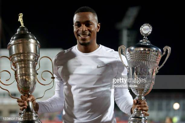 Wilhem Belocian of France celebrate on the podium at Medal Ceremony for the man's 110 meters Hurdles Memorial Race Boris Hanzekovic finals during a...