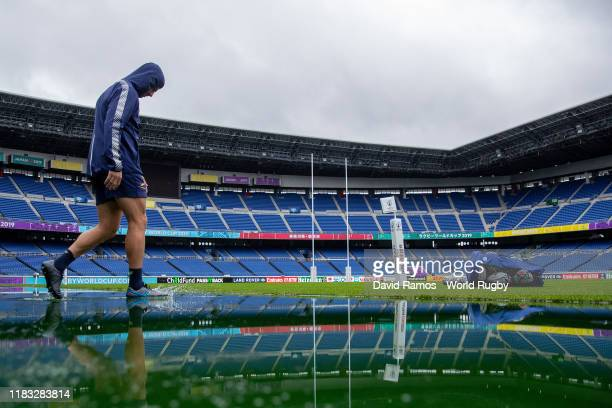 Wilie Le Roux of South Africa walks onto the pitch during the South Africa Captain's run ahead of the 2019 Japan Rugby World Cup SemiFinal between...