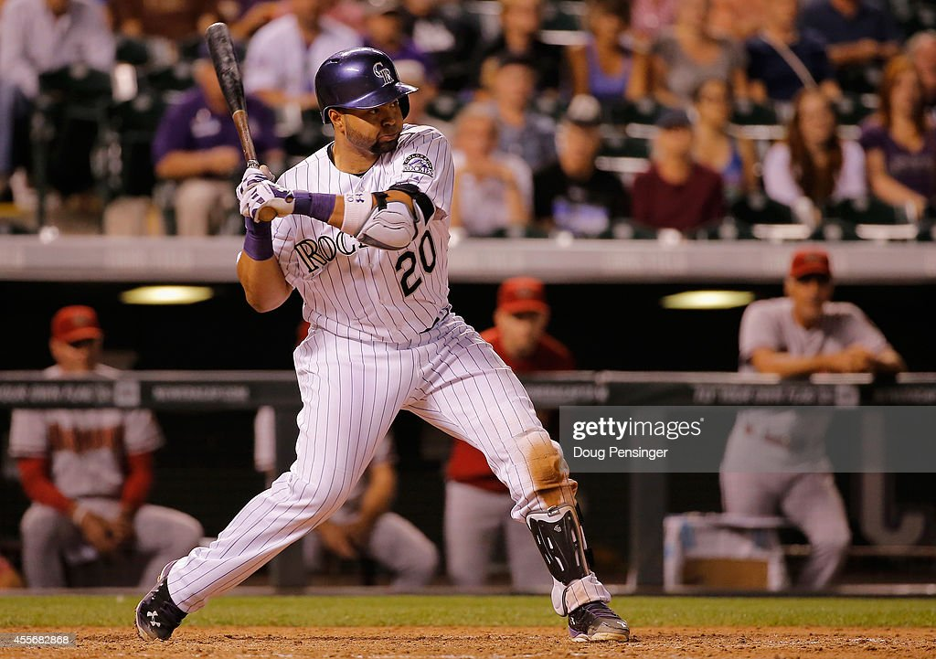 Wilin Rosario #20 of the Colorado Rockies hits the game winning walk off two run home run off of Addison Reed #43 of the Arizona Diamondbacks at Coors Field on September 18, 2014 in Denver, Colorado. The Rockies defeated the Diamondbacks 7-6.