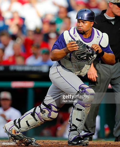 Wilin Rosario of the Colorado Rockies in action against the Philadelphia Phillies in a game at Citizens Bank Park on May 26 2014 in Philadelphia...
