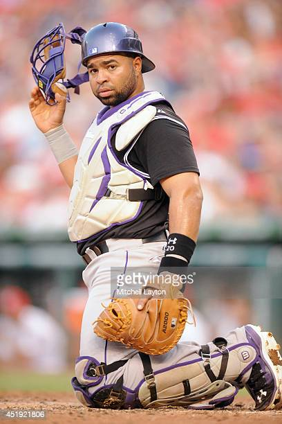 Wilin Rosario of the Colorado Rockies looks on during a baseball against the Washington Nationals on July 1 2014 at Nationals Park in Washington DC...