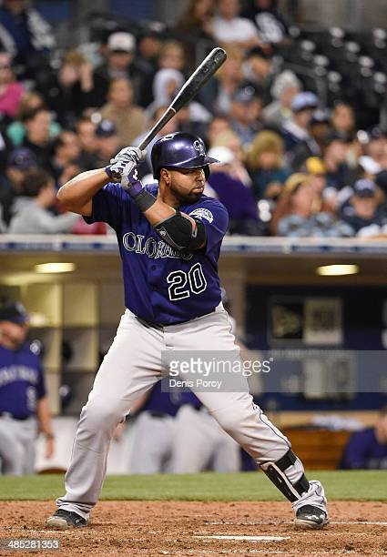 Wilin Rosario of the Colorado Rockies plays during a baseball game against the San Diego Padres at Petco Park April 14 2014 in San Diego California