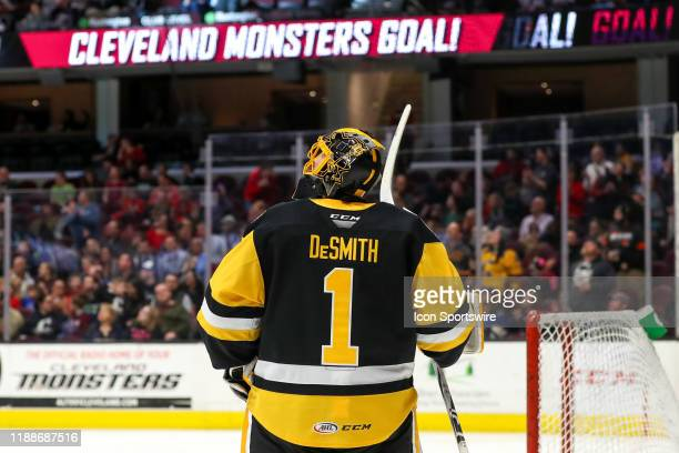 Wilkes-Barre/Scranton Penguins goalie Casey DeSmith watches a replay on the scoreboard after allowing a goal during the second period of the American...