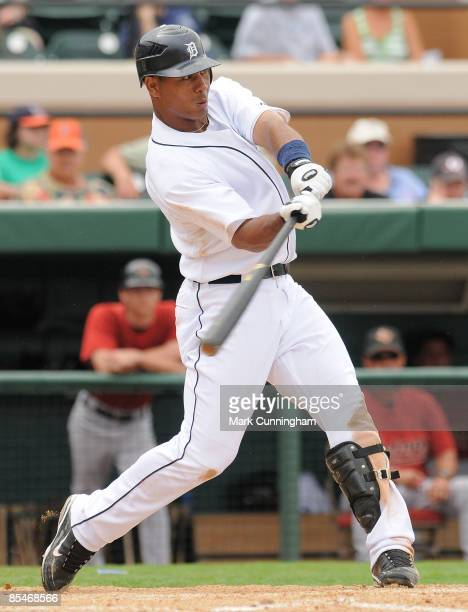 Wilkin Ramirez of the Detroit Tigers bats against the Houston Astros during the spring training game at Joker Marchant Stadium March 17 2009 in...