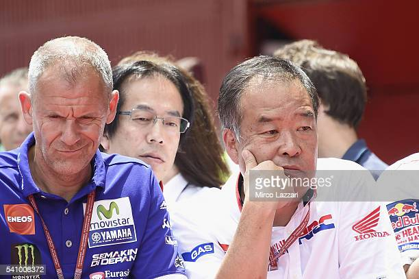 Wilko Zeelemberg of Netherland and Jorge Lorenzo Team Manager and Shuhei Nakamoto of Japan and Honda Racing Competition HRC look on at the end of the...