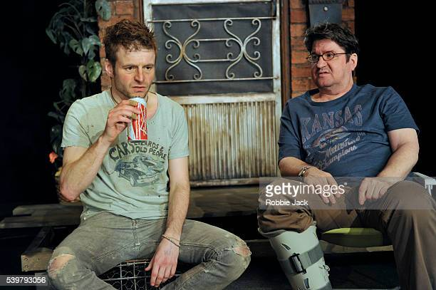 Will Adamsdale as Kenny and Stuart McQuarrie as Ben in Lisa D' Amour's Detroit directed by Austin Pendleton at the National Theatre in London
