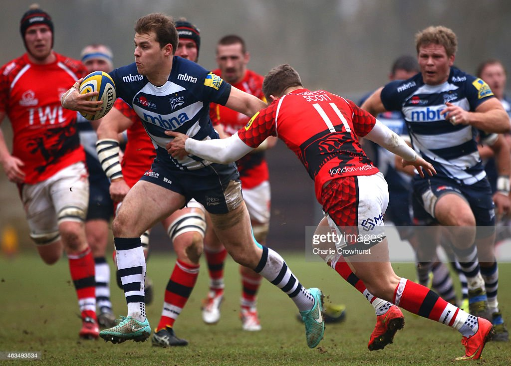 Will Addison of Sale breaks through the London Welsh defence line during the Aviva Premiership match between London Welsh and Sale Sharks at The Kassam Stadium on February 15, 2015 in Oxford, England.