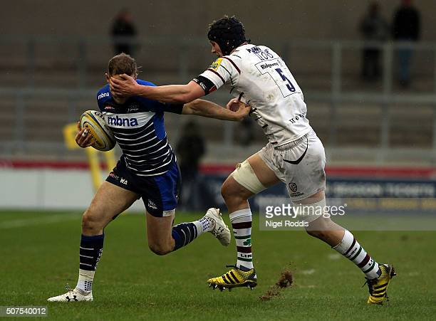 Will Addison of Sale Sharks tackled by Will Lloyd of London Irish during the Aviva Premiership match between Sale Sharks and London Irish at AJ Bell...