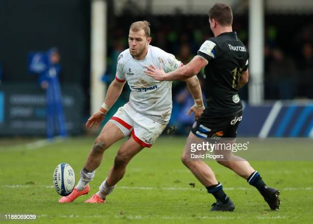 Will Addison of Ulster kicks the ball upfield during the Heineken Champions Cup Round 1 match between Bath Rugby and Ulster Rugby at the Recreation...