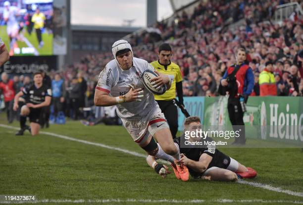 Will Addison of Ulster scorers a try during the Heineken Champions Cup Round 6 match between Ulster Rugby and Bath Rugby at Ravenhill Stadium on...