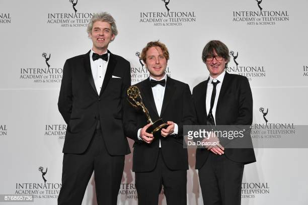 Will Anderson and James Bluemel of the documentary Exodus Our Journey to Europe pose with award and presenter Larry King at the 45th International...