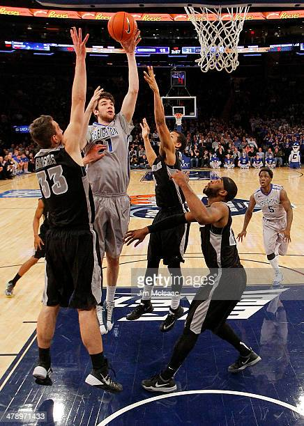 Will Artino of the Creighton Bluejays shoots against the Providence Friars in the first half during the Championship game of the 2014 Men's Big East...
