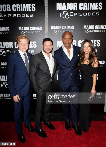 Will Attenborough Rene Rosado Leonard Roberts and Jessica Meraz at TNT's Major Crimes 100th episode celebration at 71Above on October 7 2017 in Los...