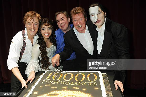 Will Barratt, Sofia Escobar, Lord Andrew Lloyd Webber, Michael Crawford and Stephen John Davis attend the 10,000th performance of the West End...