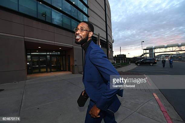 Will Barton of the Denver Nuggets arrives at the arena before the game against the Golden State Warriors on November 10 2016 at the Pepsi Center in...