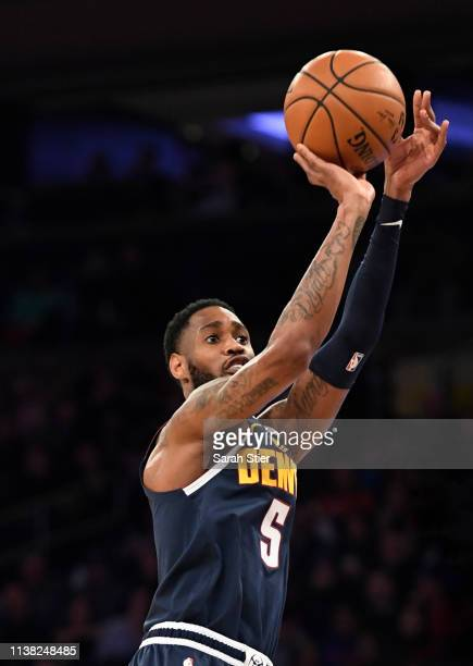 Will Barton of the Denver Nuggets attempts a basket during the first half of the game against the New York Knicks at Madison Square Garden on March...