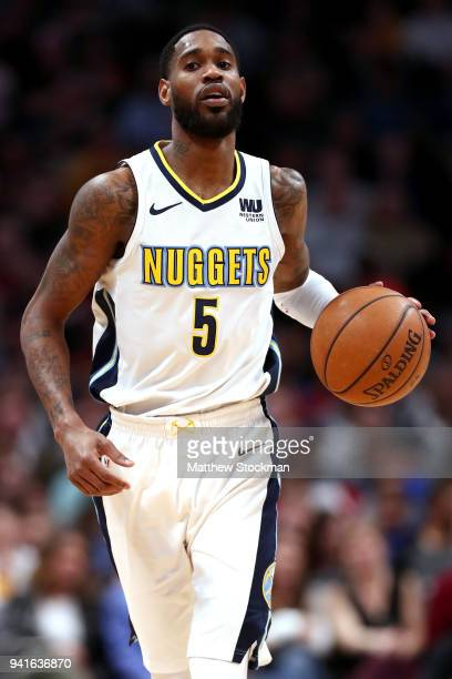 Will Barton of the Denver Nuggets brings the ball down the court against the Indiana Pacers at the Pepsi Center on April 3 2018 in Denver Colorado...