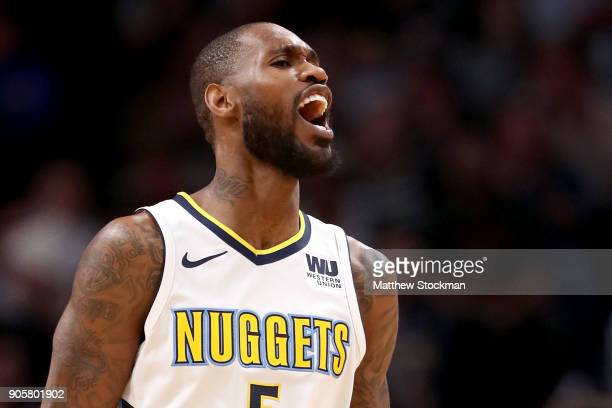 Will Barton of the Denver Nuggets celebrates a basket against the Dallas Mavaricks at the Pepsi Center on January 16 2018 in Denver Colorado NOTE TO...