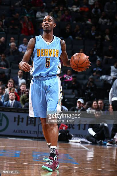 Will Barton of the Denver Nuggets defends the ball against the Brooklyn Nets during the game on February 8 2016 at Barclays Center in Brooklyn New...