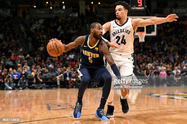 Will Barton of the Denver Nuggets drives against Dillon Brooks of the Memphis Grizzlies at Pepsi Center on January 12 2018 in Denver Colorado NOTE TO...