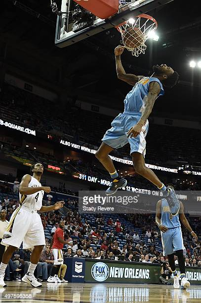 Will Barton of the Denver Nuggets dunks during the second half of a game against the New Orleans Pelicans at the Smoothie King Center on November 17...